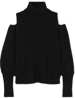 Antonio Berardi Cold-shoulder Ribbed Wool And Cashmere-blend Turtleneck Sweater - Black