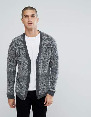 Asos Design Lambswool Fairisle Cardigan In Grey