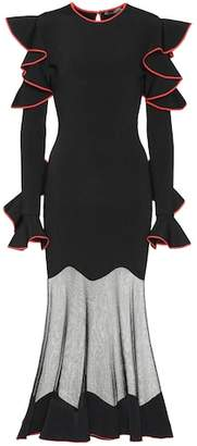 Alexander McQueen Ruffled sheer-panel dress
