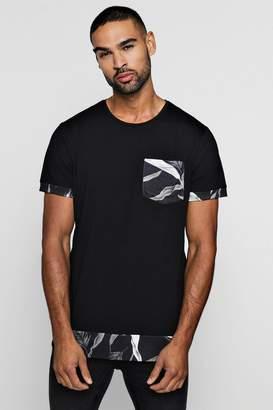 boohoo Longline Dark Floral Extended Hem T-Shirt
