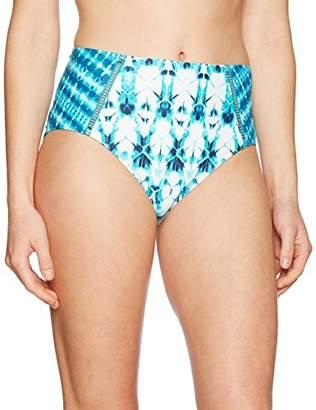 Coastal Blue Women's Swimwear High Waist Lattice Cutout Bikini Bottom