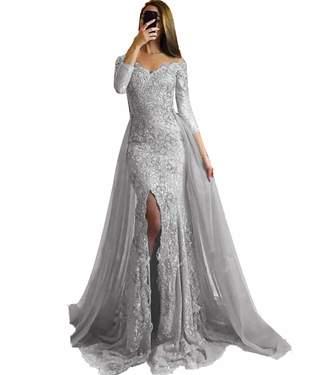 c2ced6091371 SDRESS Women's Appliques Off Shoulder Long Sleeve Mermaid Formal Prom Dress  Overskirt Side-Slit Evening