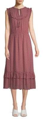 Moon River Polka Dot Ruffled Midi Dress