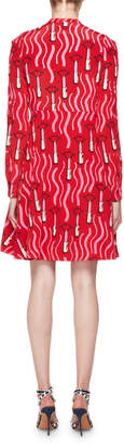 Valentino Long-Sleeve Crepe de Chine Lipstick-Print Mini Dress