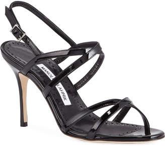 e5a3cb6d20e Manolo Blahnik Amazia Strappy Patent Mid-Heel Sandals