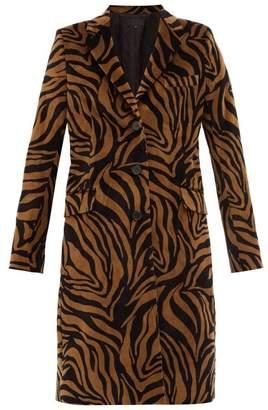 Nili Lotan Rosalin Tiger Print Cotton Velour Coat - Womens - Black Brown