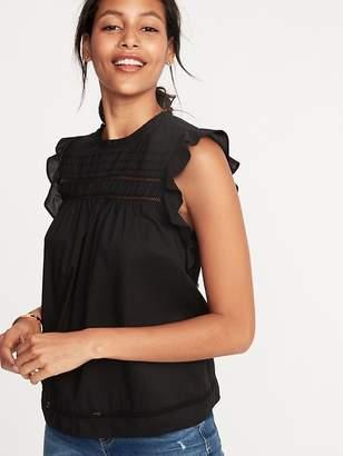 Old Navy Ruffled Crochet Lace-Trim Flutter-Sleeve Blouse for Women