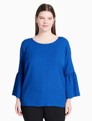 Calvin Klein plus size bell sleeve textured top