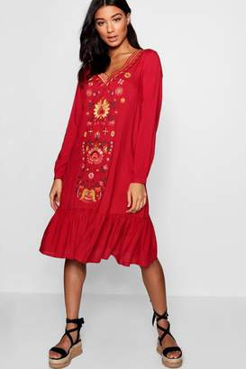 boohoo Embroidered Front Smock Dress
