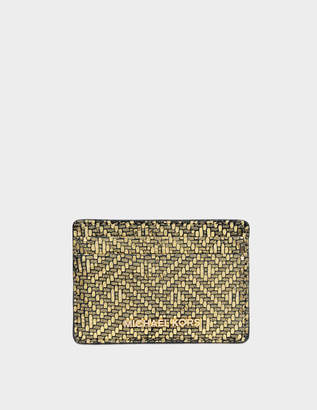 MICHAEL Michael Kors Jet Set Travel Card Holder in Gold Maya Met Leather