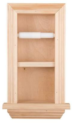 WG Wood Products Solid Wood Recessed in wall Bathroom Double Toilet Paper Holder with Ledge