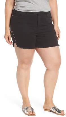 Seven7 High Rise Stud Detail Denim Shorts