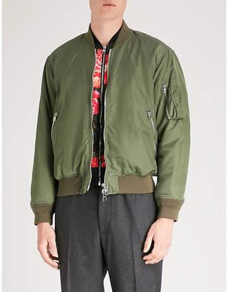 Alexander McQueen Rose-front satin bomber jacket