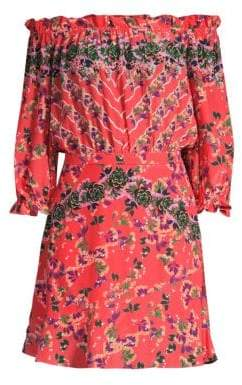 Saloni Grace Silk Floral Mini Dress