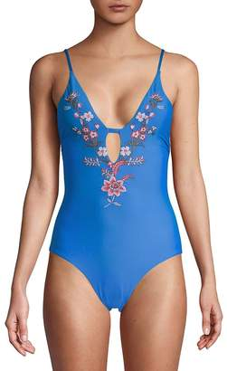 Ella Moss Women's One-Piece Floral-Embroidered Swimsuit