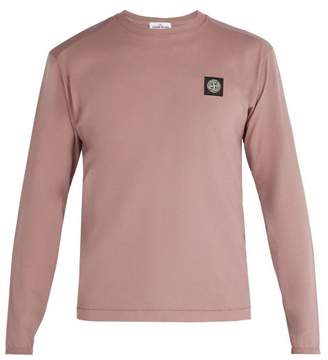 Stone Island Logo Patch Long Sleeved Cotton T Shirt - Mens - Light Pink
