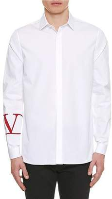 Valentino Men's V-Cuff Poplin Sport Shirt