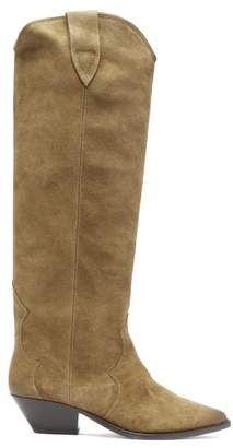 Isabel Marant Denvee Suede Knee High Boots - Womens - Khaki