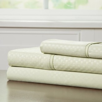 Brushed Microfiber Sheets Set- 3 Piece Hypoallergenic Bed Linens with Deep Pocket Fitted Sheet and Embossed Design by Somerset Home