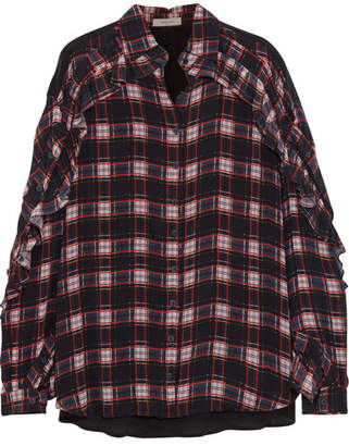 Preen Line Lucie Ruffled Checked Crepe De Chine Blouse - Navy