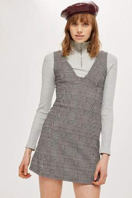Topshop Petite Checked A-Line Pinafore Dress