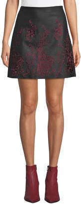 Club Monaco Broidie Floral Faux-Leather Short Skirt