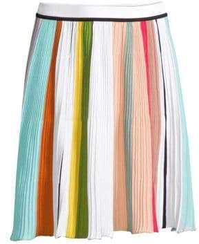 Missoni Colorblock Stripe Knit Pleated A-Line Skirt