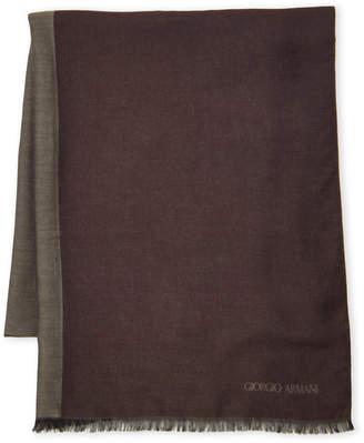 Giorgio Armani Dark Green & Brown Reversible Scarf