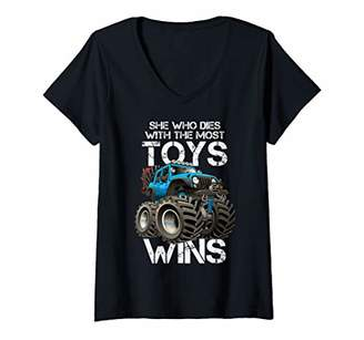 Womens She Who Dies With The Most Toys Wins Blue Jeep Lover Gift V-Neck T-Shirt