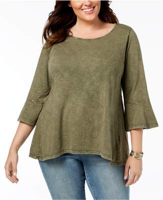 Style&Co. Style & Co Plus Size Cotton Acid-Wash Lantern-Sleeve Top