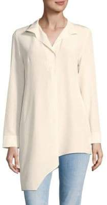 Akris Asymmetrical Hem Silk Top