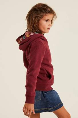 Fat Face Girls FatFace Purple Badge Popover Hoody - Purple