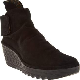 Fly London Suede Ruched Ankle Boots - Yegi