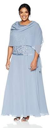 J Kara Women's Plus Size Long Sleeveless Dress with Scarf