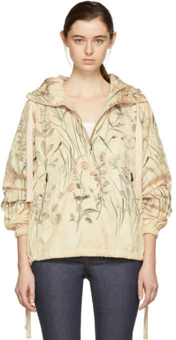 Beige All Over Butterflies Windbreaker Jacket