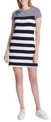 Calvin Klein Embroidered Stripe T-Shirt Dress