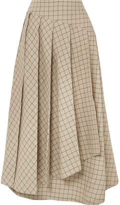 Awake Pleated Checked Cotton Midi Skirt - Beige