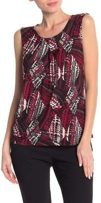 Kasper Patterned Scoop Neck Blouse