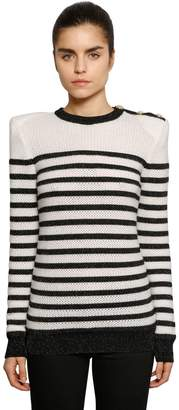 Balmain Striped Intarsia Knit Sweater W/ Buttons