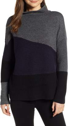 French Connection Patchwork Mock Neck Sweater