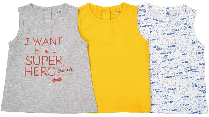La Redoute Collections Pack of 3 Sleeveless T-Shirts, 1 Month-3 Years