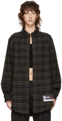 Alexander Wang Green and Black Flannel Player ID Shirt