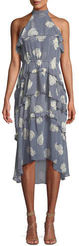 MISA Los Angeles Anca Floral Ruffle Halter Midi Dress