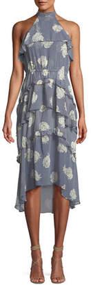 MISA Los Angeles Anca Floral Ruffle Halter Midi Dress