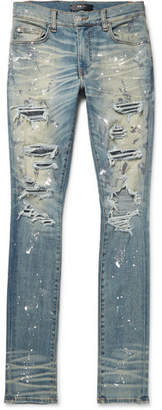 Amiri Crystal Thrasher Skinny-Fit Embellished Painted Distressed Stretch-Denim Jeans - Men - Blue