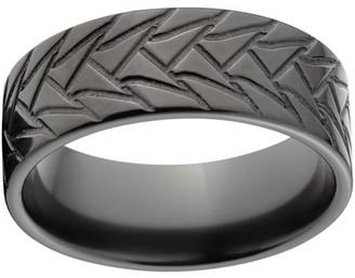 Generic Custom Men's Tire Tread 8mm Black Zirconium Wedding Band with Comfort Fit Design