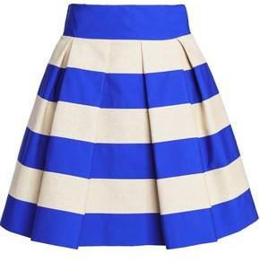 DELPOZO Pleated Striped Cotton-Poplin And Canvas Mini Skirt
