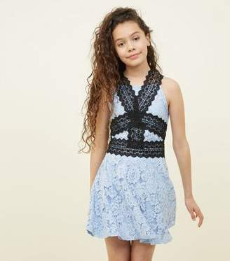 New Look Girls Pale Blue Contrast Lace Skater Dress 8213dd80b