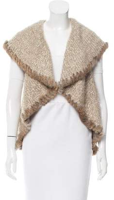 Love Token Fur-Trimmed Knit Vest