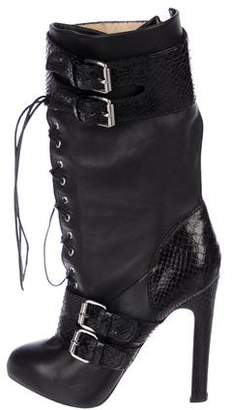 Christian Louboutin Lace-Up Mid-Calf Boots
